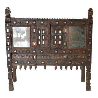 Vintage Indian Teak & Iron Damchiya Dowry Chest