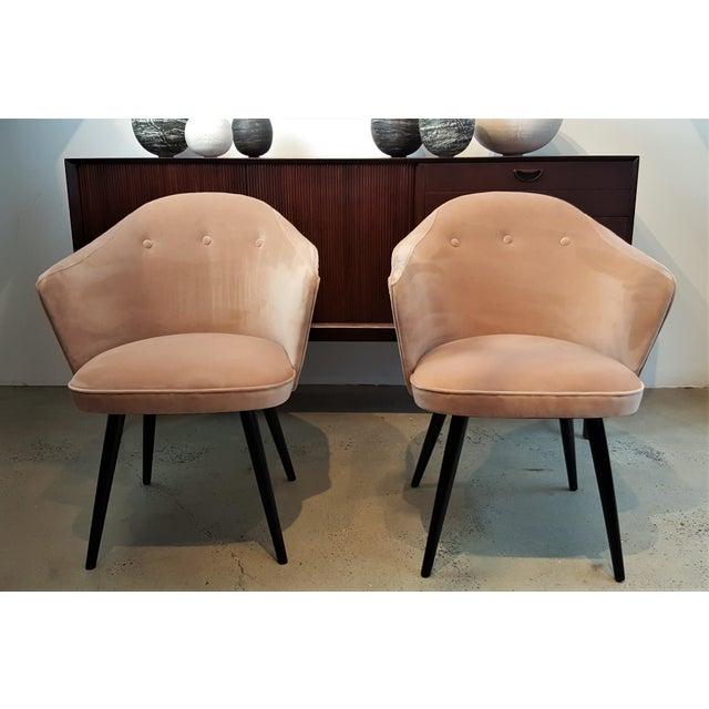 Italian Modern Blush Velvet Chairs - A Pair For Sale - Image 10 of 10