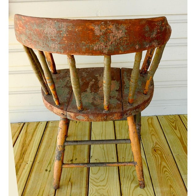 Antique Rustic Painted Saloon Chair For Sale - Image 4 of 8