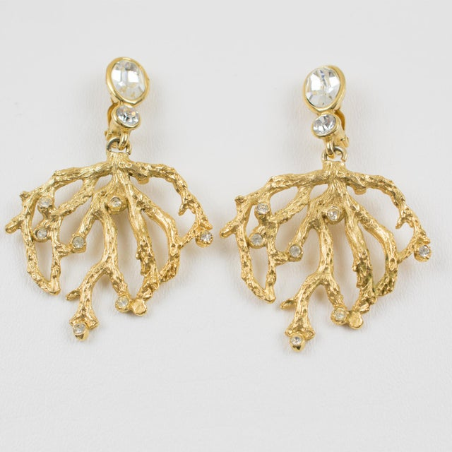 Contemporary Yves Saint Laurent Paris Gilt Metal Clip Earrings Dangling Branch & Rhinestones For Sale - Image 3 of 7