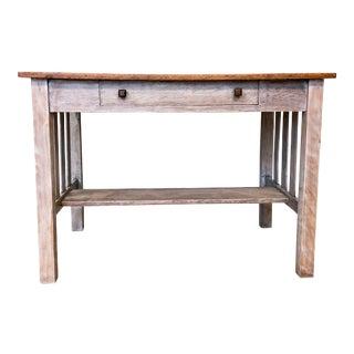 1900s Mission Solid Oak Writing Desk For Sale