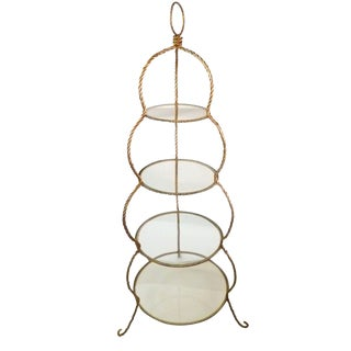Golden Italian Braided Rope Etagere For Sale