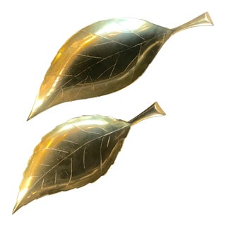 1960s Traditional Brass Leaves With Bronze Patina - a Pair