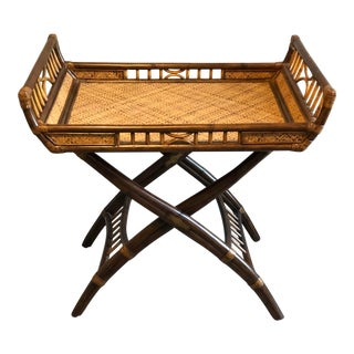 1980s Hollywood Regency McGuire Rattan Bamboo Tray Table For Sale