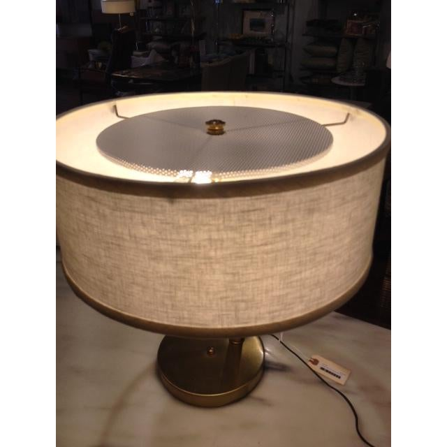 Vintage Brass Swing Arm Desk Lamp with Drum Shade - Image 5 of 7