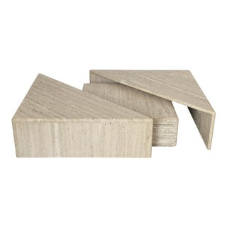 Three-Piece Layered Triangular Travertine Coffee Table For Sale