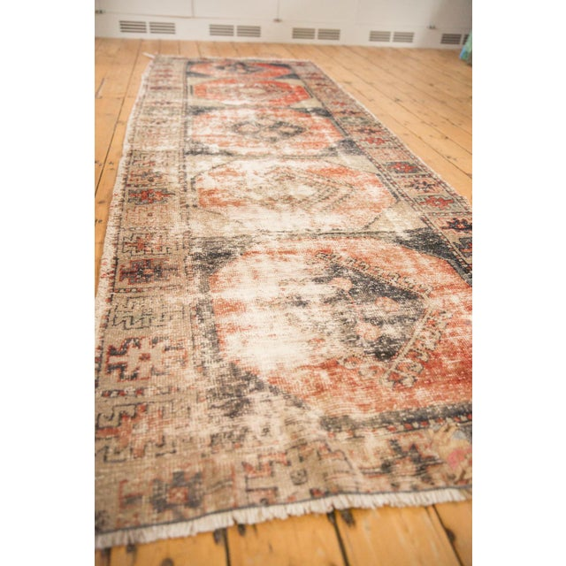 """Vintage Distressed Oushak Rug Runner - 3'8"""" X 10'3"""" For Sale In New York - Image 6 of 12"""