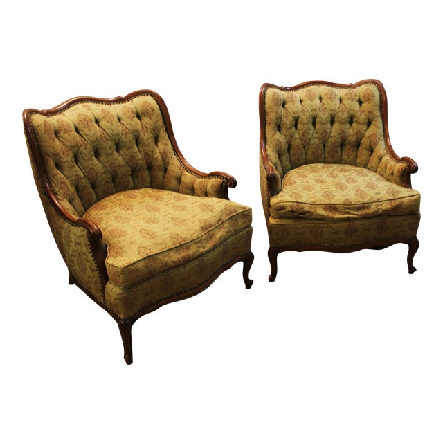 French Tufted Back Bergere Arm Chairs - Pair - Image 1 of 10