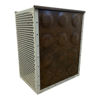 Eames Esu Walnut Dimple Panels Perforated Steel Modernica Trash Can For Sale