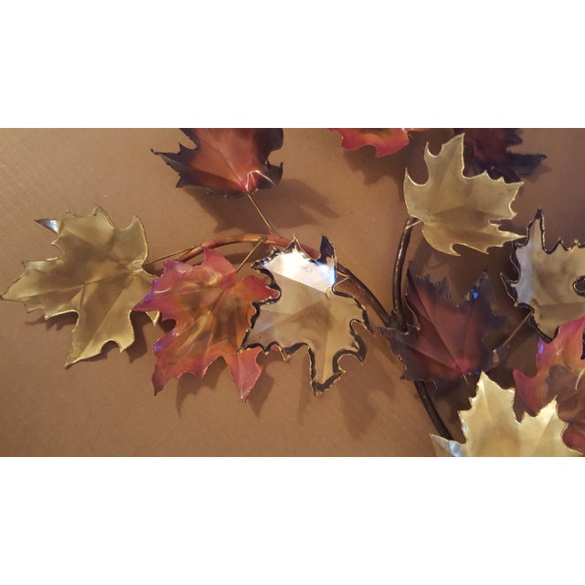 1970s 1970s Mid-Century Modern Copper and Brass Metal Welded Leaf Wall Art For Sale - Image 5 of 6