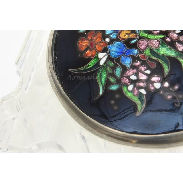 Signed Enameled Foiled Cloisonné and Lucite Vessel/Box For Sale - Image 10 of 11