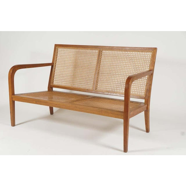 1940s French 'Art Moderne' Wood Frame & Cane Settee Loveseat with Horsehair Cushions Manner of Corbusier/ Jeanneret For Sale In New York - Image 6 of 12