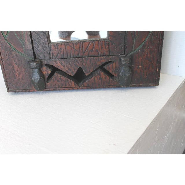 19th Century Hand-Carved and Painted Folk Art Hanging Wall Cabinet For Sale - Image 10 of 10
