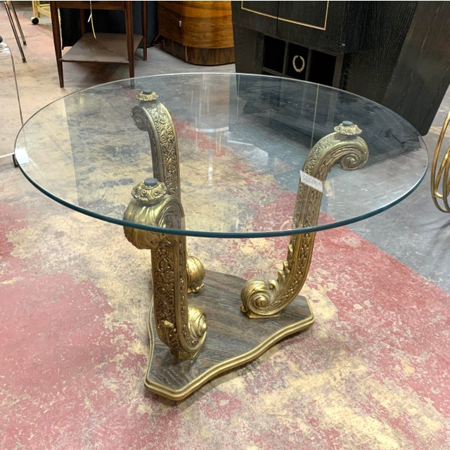 Gold 1960s Hollywood Regency Dolphin Side Table/Coffee Table With Glass Top For Sale - Image 8 of 8