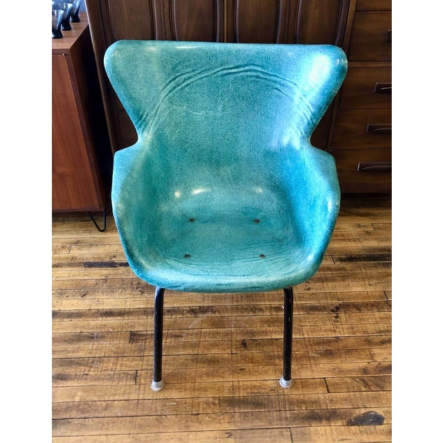Great color Lawrence Peabody Wingback Fiberglass Chair from the 1960's. Solid and sturdy with black legs and grey capped...