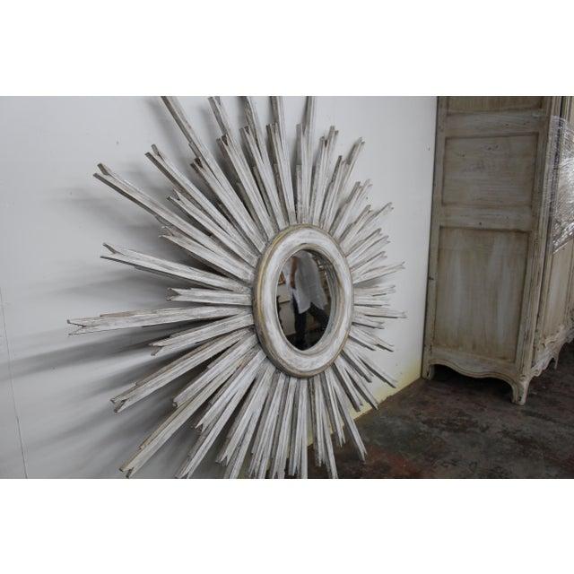 Mid-Century Modern 20th Century Vintage Gilt Wood Sunburst Mirror For Sale - Image 3 of 5