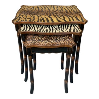 Safari Style Faux Bamboo Resin Nesting Tables - Set of 3 For Sale