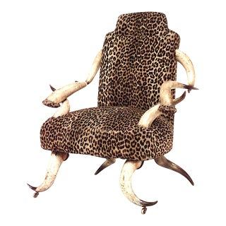 Rustic Continental Horn & Leopard Arm Chair For Sale
