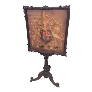 Antique English Mahogany and Needlepoint Firescreen For Sale