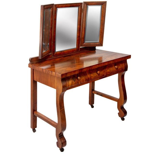 1903 Marvel Bevelled Three Mirror Oak Vanity For Sale - Image 13 of 13