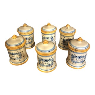 Italian Hand Painted Ceramic Canisters - Set of 6 For Sale