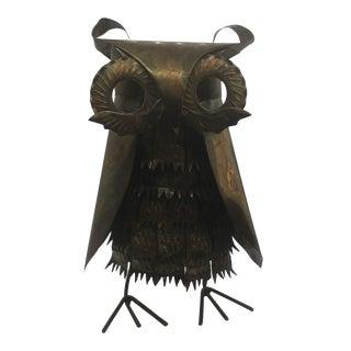 1970s Vintage Brutalist Brass Owl Sculpture For Sale