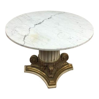Rococo Style Round Marble Topped Wooden Base Center Table