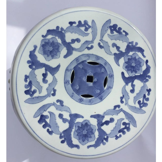 Chinese Porcelain Garden Seat in Blue and White Floral Motif For Sale - Image 9 of 13