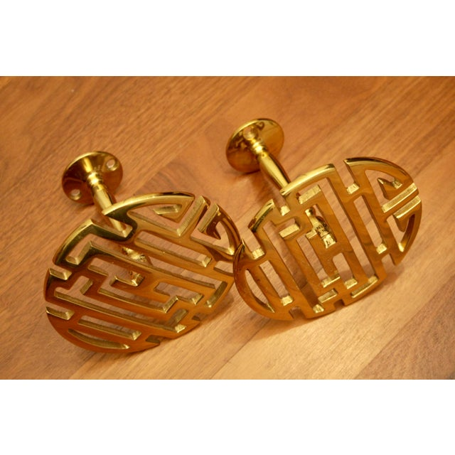 Chinoiserie Brass Longevity Symbol Drapery Tiebacks - A Pair For Sale - Image 4 of 7