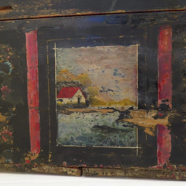 19th Century Olinala Guerrero Traditional Mexican Lacquered and Hand Painted Blanket Chest For Sale - Image 4 of 8