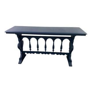 Boho Chic Painted Indigo Blue Console/Sofa Table For Sale