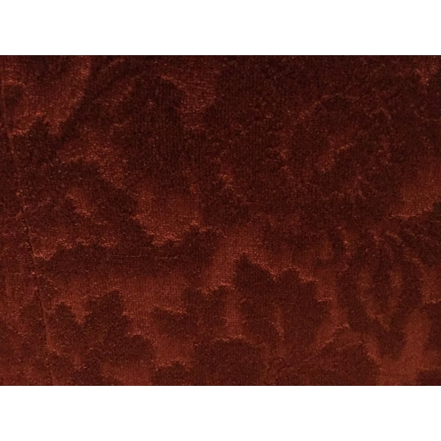 1990s Bordeaux Cotton Velvet Damask Chair & a Half For Sale - Image 5 of 10