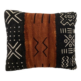 """African Custom Made Bogolan Lumbar Mud Cloth Pillow 14"""" by 12"""" For Sale"""