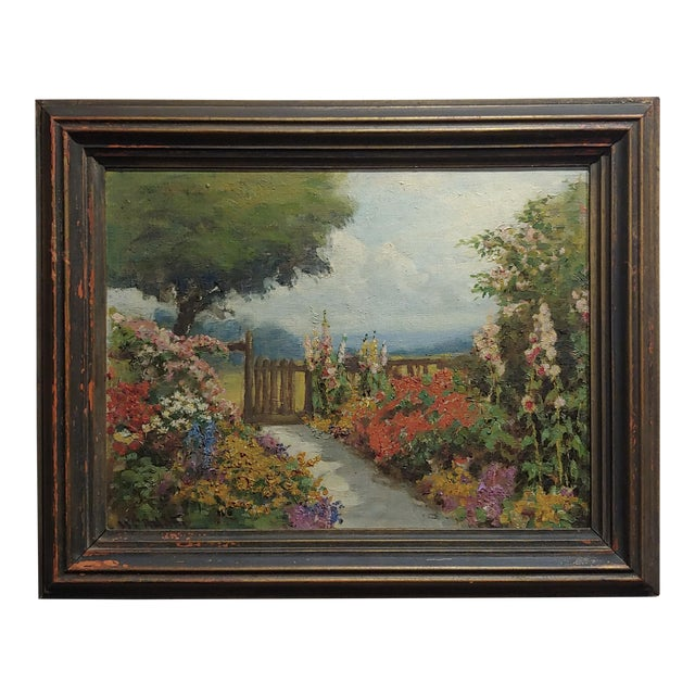 William Constable Adam-Beautiful Flower Garden With Gate -Oil Painting-1900s For Sale