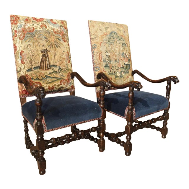 17th Century French Walnut and Saint-Cyr Tapestry Armchairs - a Pair For Sale