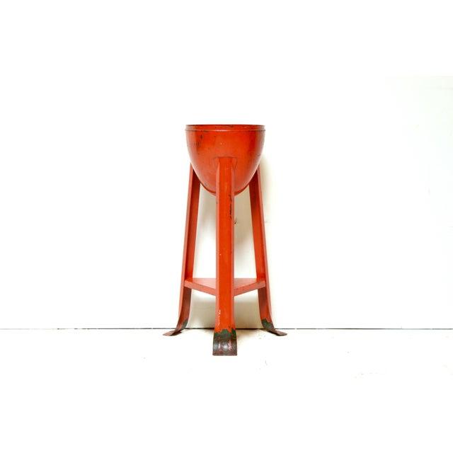 Mid-Century Red Metal Planter - Image 2 of 3