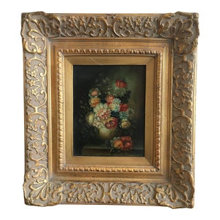 1940s Vintage Floral Still Life Oil Painting For Sale