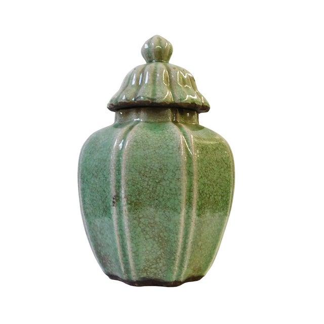 Ceramic Crackle Pattern Pumpkin Celadon Green Jar For Sale