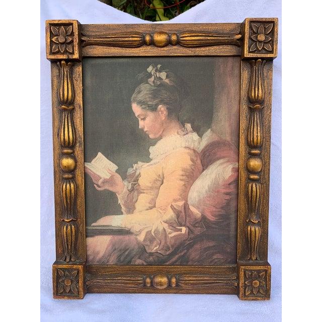 """Illustration Vintage """"Portrait of a Young Girl Reading"""" Print After Jean-Honore Fragonard, Framed For Sale - Image 3 of 3"""