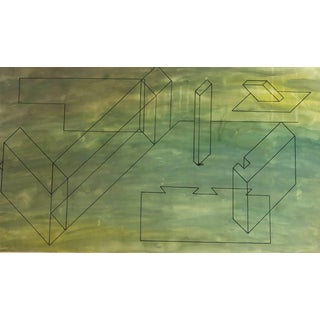1950s Mid-Century Modern Geometric Painting For Sale