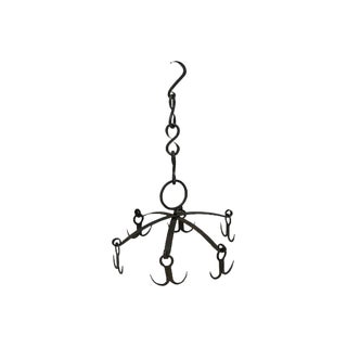 Arts & Crafts Hanging Wrought Iron Pot Rack For Sale