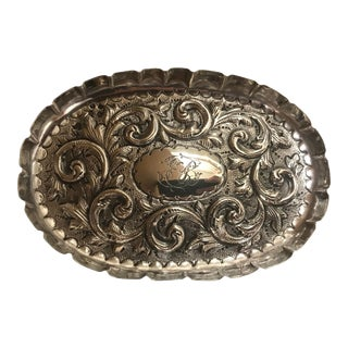 1887 Antique Repousse Sterling Tray For Sale