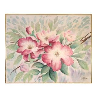 Original Lee Reynolds Signed Mid-Century Modern Floral Painting For Sale