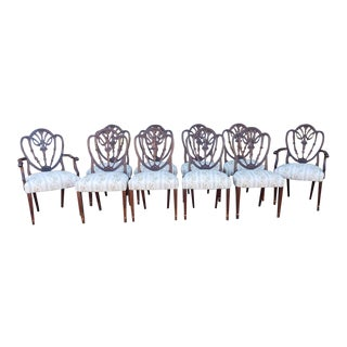 Set 10 Antique Mahogany Shield Back Hepplewhite Dining Room Chairs C1920s For Sale