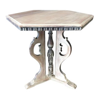 1920's Distressed Occasional Pedestal Table