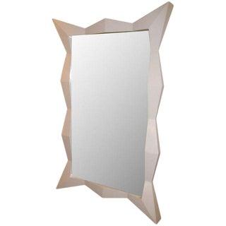 Oversized Diamond White Lacquered Mirror