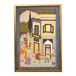 Gilt Framed Indian Pichwai Painting on Silk For Sale