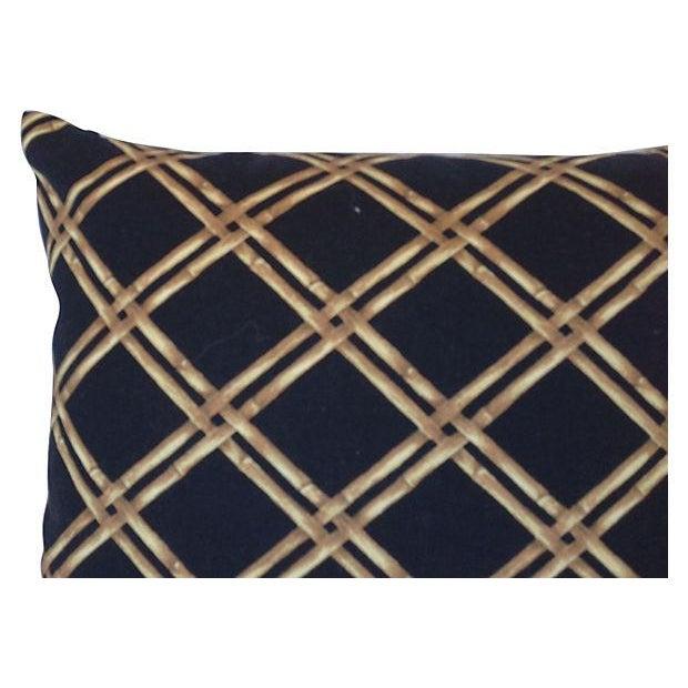 Black & Tan Bamboo Lattice Pillows - A Pair - Image 4 of 5