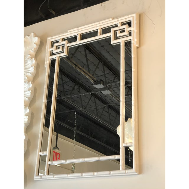Vintage Palm Beach White Lacquered Greek Key Faux Bamboo Wall Mirror For Sale - Image 9 of 11