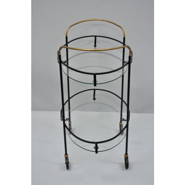 Vintage Metal Iron & Glass Atomic Era Oval Rolling Bar Cart For Sale - Image 11 of 13